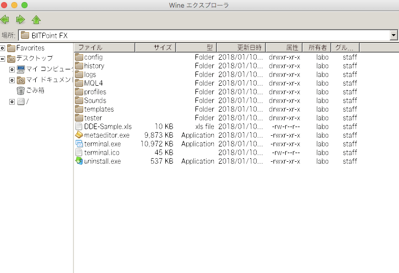 MT4のデータフォルダをEasyWineで開いた画面イメージ