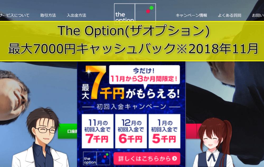The Option(ザオプション) 最大7000円キャッシュバック※2018年11月
