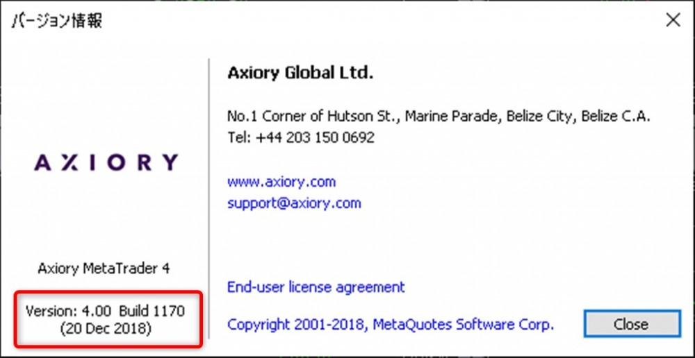 Axiory現在のMT4バージョンVersion4.00 Build 1170(20 Dec 2018)