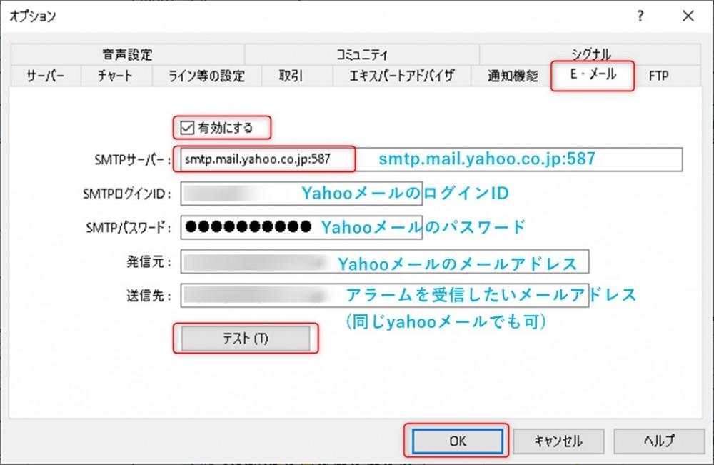 MT4でのメール送信設定方法とプッシュ機能設定のMT4設定画面