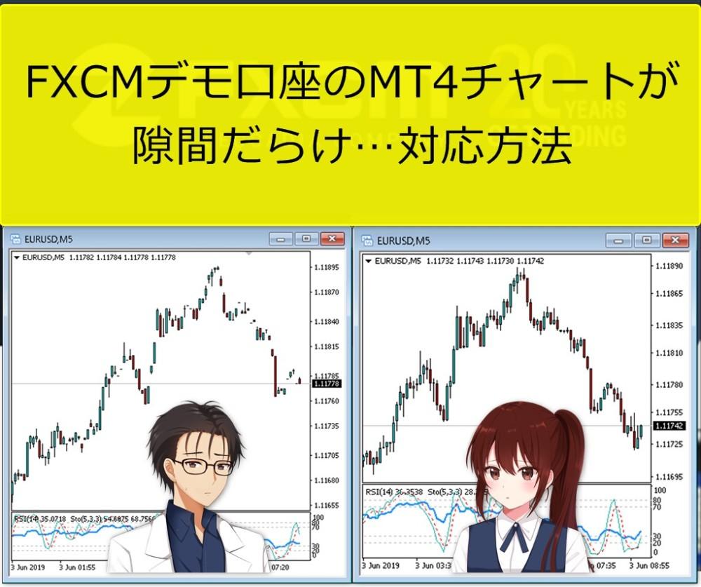 FXCMデモ口座のMT4チャートが隙間だらけ…対応方法は?