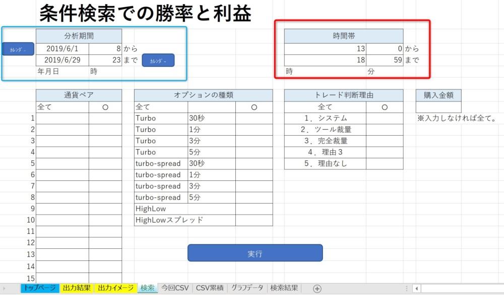 バイナリーオプション収支分析表条件検索での勝率と利益変更箇所