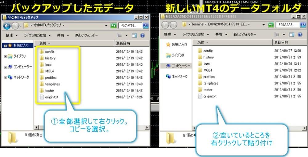 新しいMT4にバックアップデータをコピー貼付け